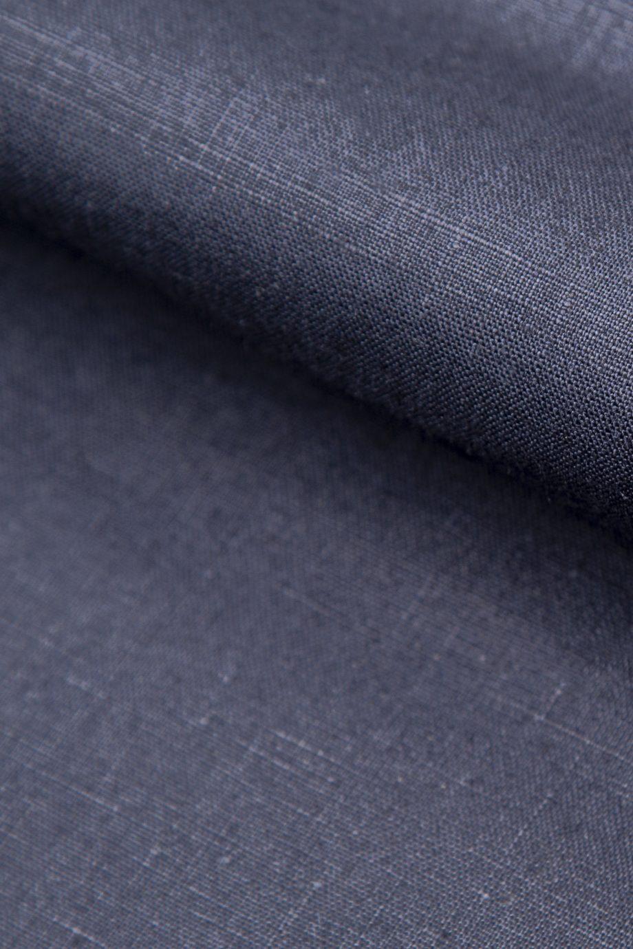 Navy eco-certified, plain weave, 100% linen, hand cut